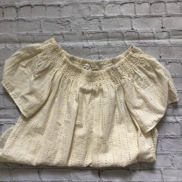 0858046cdae H&M Tops | Hm Logg Cream Off The Shoulder Blouse | Poshmark